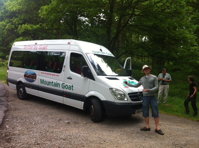 The tour bus! Kindly modelled by Nick :)